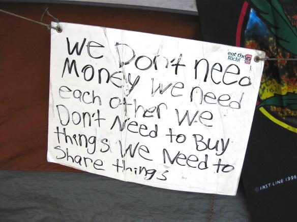 Sign at Occupy LA city hall encampment, October 2011