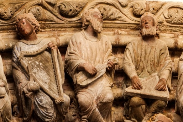 Musicians in the Pôrtico de la Gloria (12th century), cathedral of Santiago de Compostela