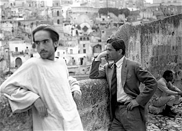 "Enrique Irazoqui and Pier Paolo Pasolini on location for ""The Gospel According to St. Matthew"""