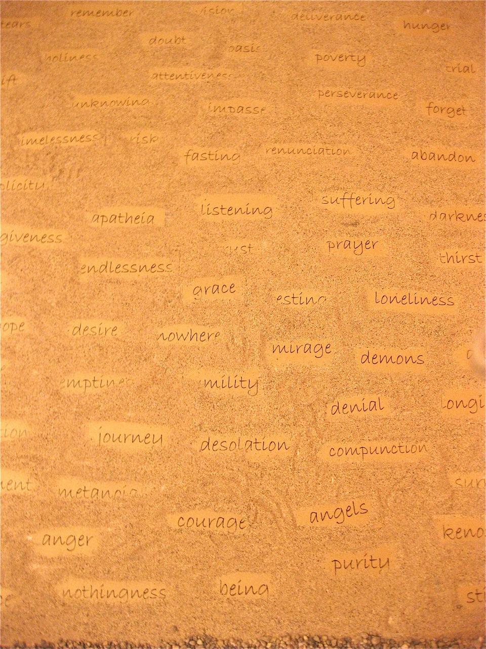 """Desert Words"" from ""Via Negativa"" worship installation by Jim Friedrich"