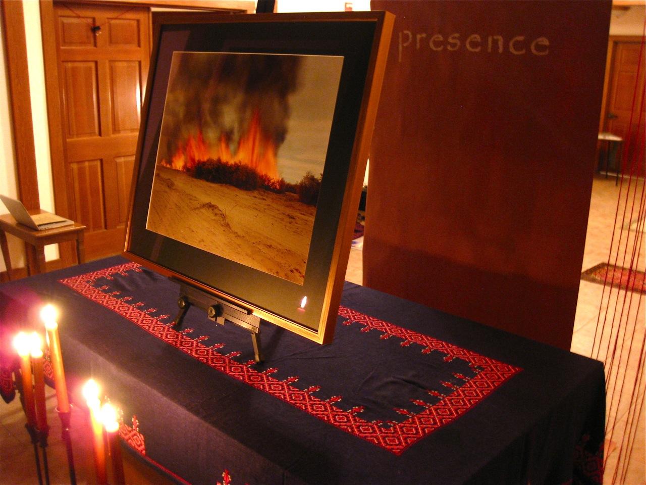 """Burning Bush"" - Richard Misrach's ""Desert Fire #81"" in ""Via Negativa"" worship installation"