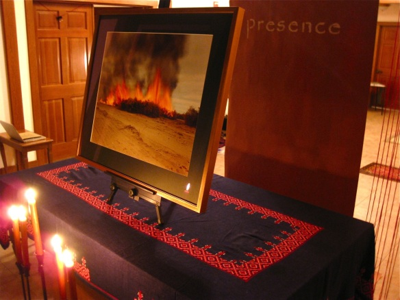 """Burning Bush"" - Richard Misrach's ""Desert Fire #81"" in ""Via Negativa"" worship installation"