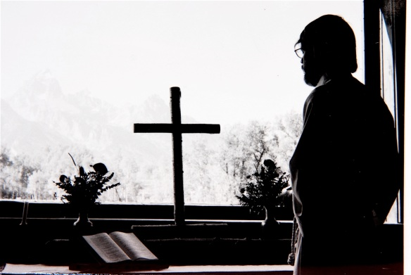 Young priest in the Chapel of the Transfiguration, Grand Tetons National Park (1976)