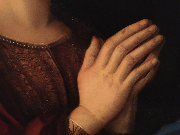 Giovanni Bellini, Madonna and Child with Saints Catherine and Magdalene (detail), c. 1500, Accademia, Venice