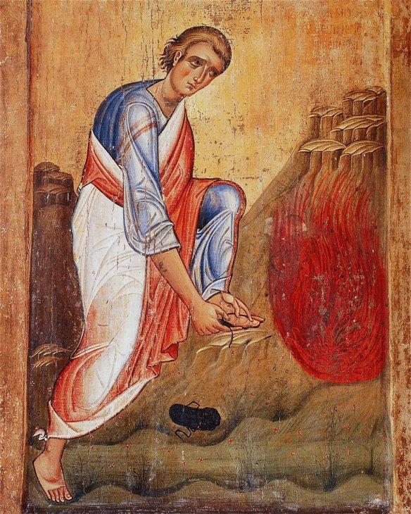 Moses before the Burning Bush, 13th century icon, Monastery of St. Catherine, Mt. Sinai