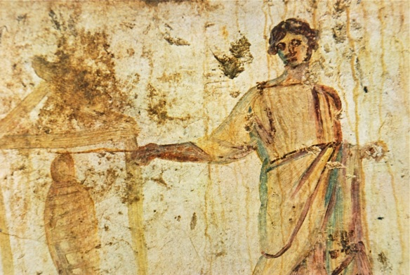 Jesus raises the dead with a wand (Roman catacomb, 3rd century)