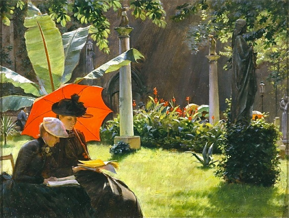 Charles Courtney Curran, Afternoon in the Cluny Garden, Paris (1889)