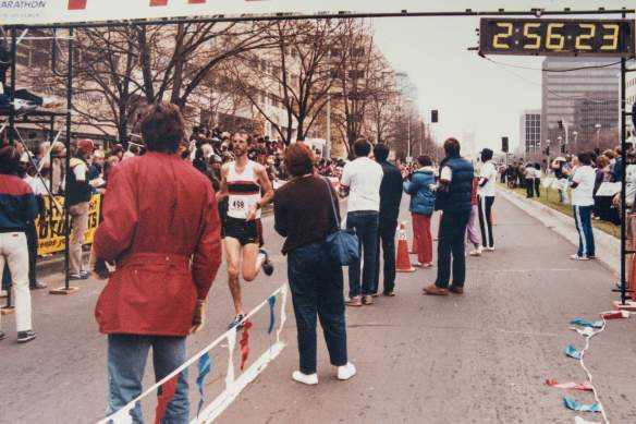 Finishing the California Marathon, December 1984