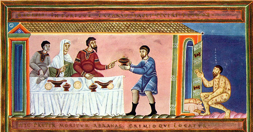 Medieval illumination, The Rich Man and Lazarus