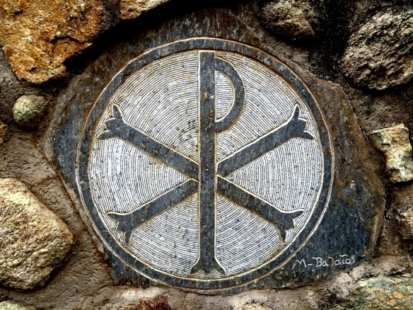 Chi-Rho, ancient monogram for Christ (wall of Greek monastery in Meteora)
