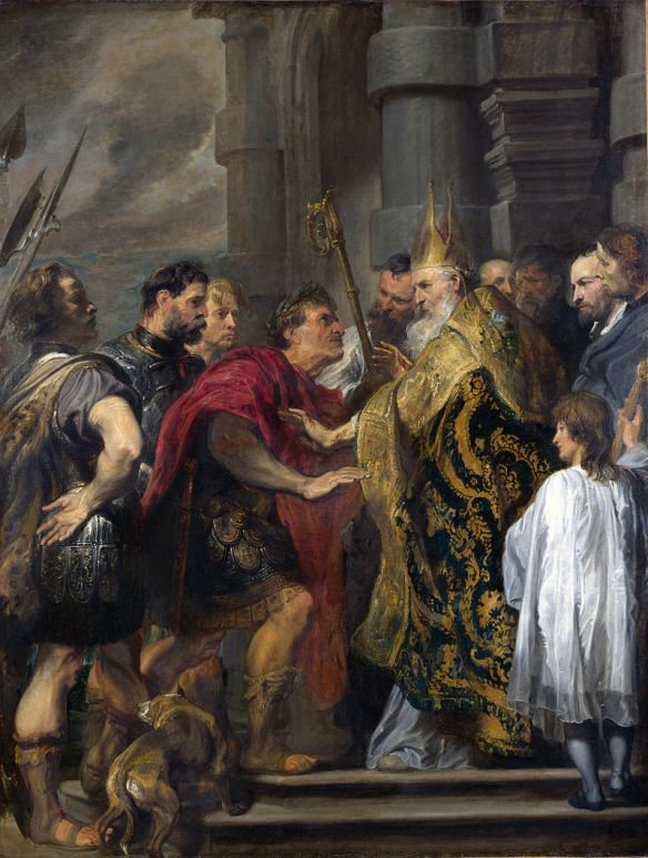 St. Ambrose barring Theodosius from Milan Cathedral, Anthony van Dyck (1619-20), National Gallery, London