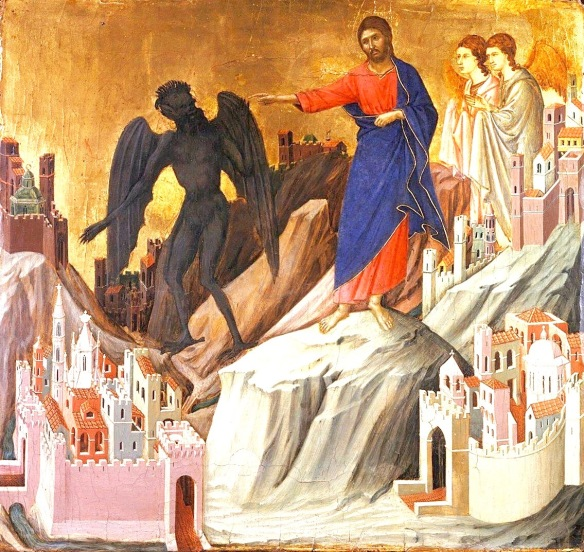 Duccio di Buoninsegna, The Temptation of Christ on the Mountain, Maesta Altarpiece (c. 1307)